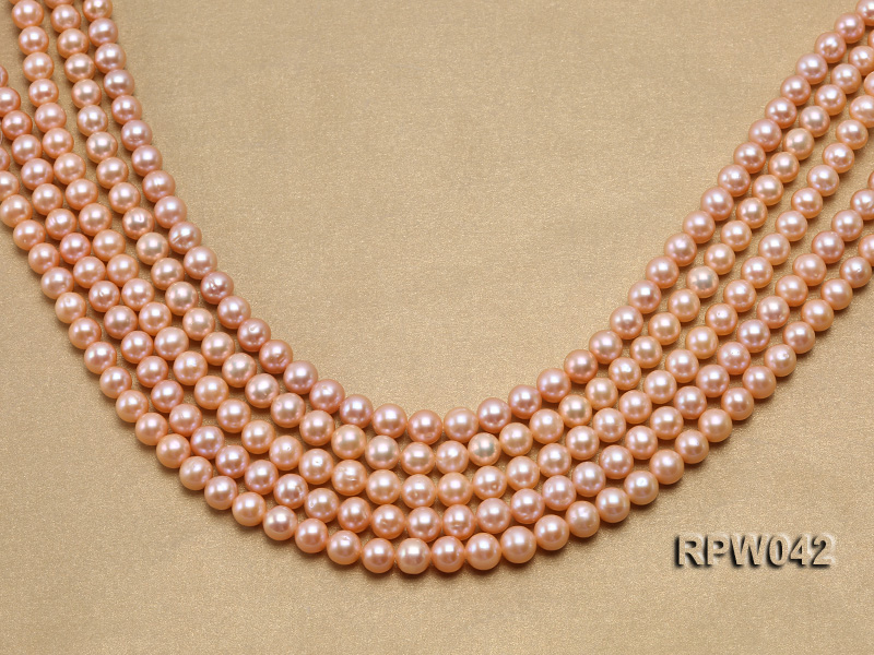 Wholesale AAA 7.5-8mm Pink Round Freshwater Pearl String big Image 1
