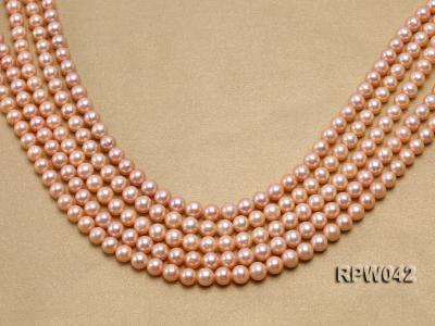 Wholesale AAA 7.5-8mm Pink Round Freshwater Pearl String RPW042 Image 1
