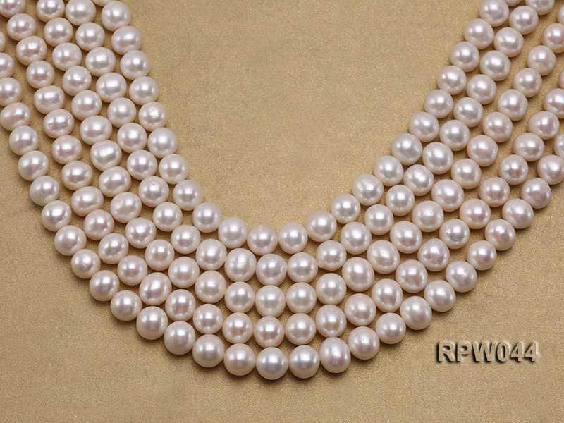 Wholesale 11-12mm White Round Freshwater Pearl String big Image 1