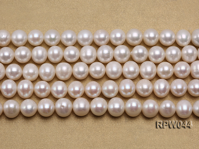 Wholesale 11-12mm White Round Freshwater Pearl String big Image 2