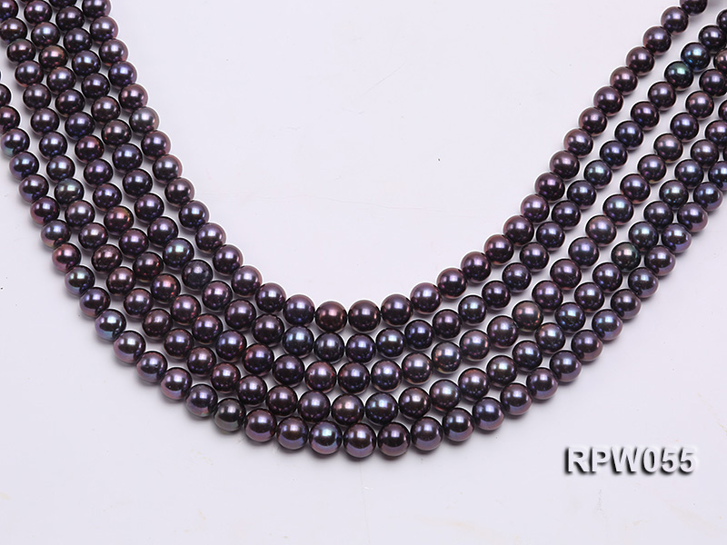 Wholesale AAA-grade  8-9mm Black Blue Round Freshwater Pearl String big Image 1