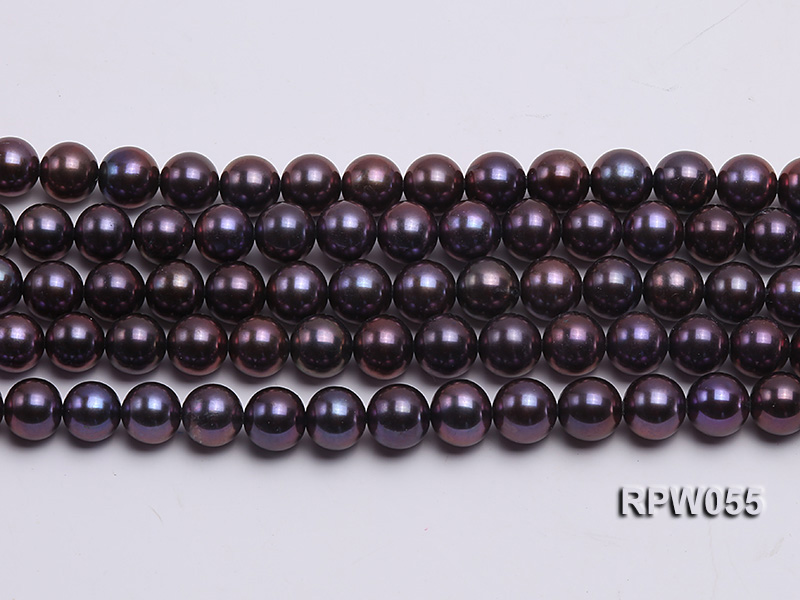 Wholesale AAA-grade  8-9mm Black Blue Round Freshwater Pearl String big Image 2