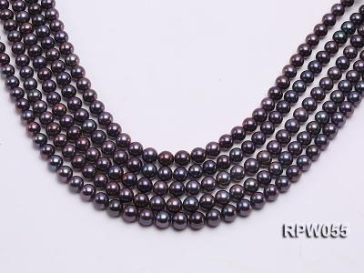 Wholesale AAA-grade  8-9mm Black Blue Round Freshwater Pearl String RPW055 Image 1