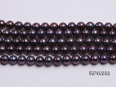 Wholesale AAA-grade  8-9mm Black Blue Round Freshwater Pearl String RPW055 Image 2