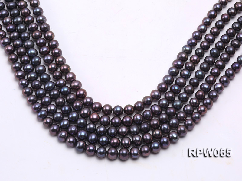 Wholesale 8-9mm Black Round Freshwater Pearl String   big Image 2
