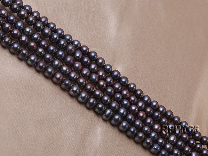 Wholesale 8-9mm Black Round Freshwater Pearl String   big Image 3