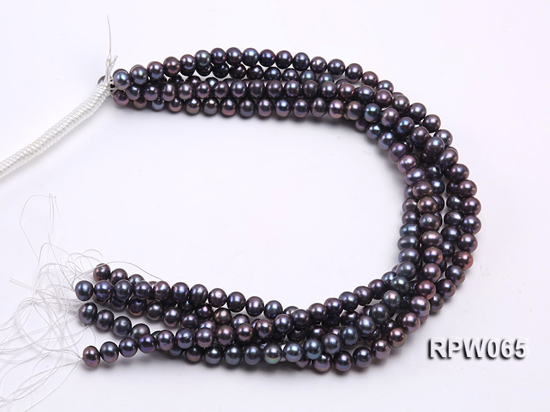 Wholesale 8-9mm Black Round Freshwater Pearl String   big Image 4