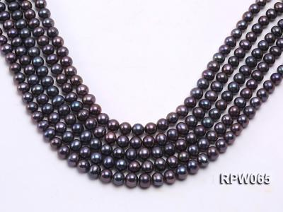 Wholesale 8-9mm Black Round Freshwater Pearl String   RPW065 Image 2