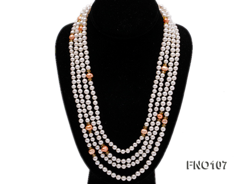 8-8.5mm natural white round freash water pearl necklace big Image 1