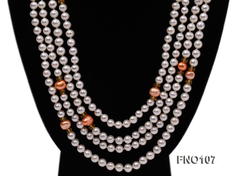 8-8.5mm natural white round freash water pearl necklace big Image 2
