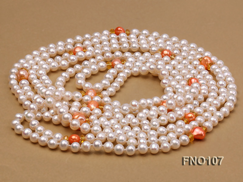 8-8.5mm natural white round freash water pearl necklace big Image 3