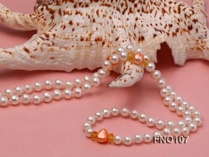 8-8.5mm natural white round freash water pearl necklace big Image 5