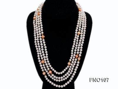 8-8.5mm natural white round freash water pearl necklace FNO107 Image 1