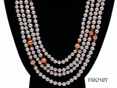 8-8.5mm natural white round freash water pearl necklace FNO107 Image 2
