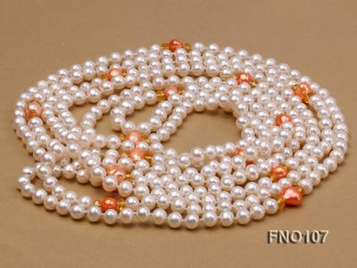 8-8.5mm natural white round freash water pearl necklace FNO107 Image 3