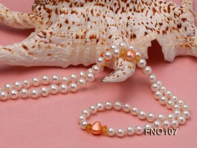 8-8.5mm natural white round freash water pearl necklace FNO107 Image 5