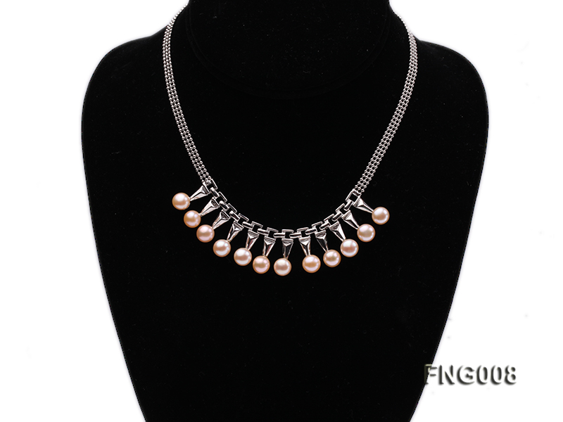 Gold-plated Metal Chain Necklace dotted with 8.5mm Pink Freshwater Pearls big Image 1