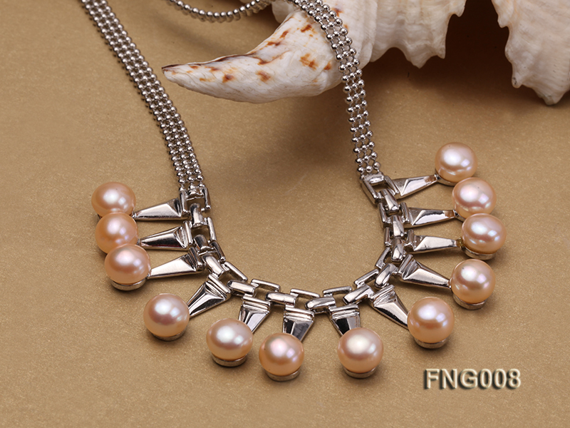 Gold-plated Metal Chain Necklace dotted with 8.5mm Pink Freshwater Pearls big Image 4