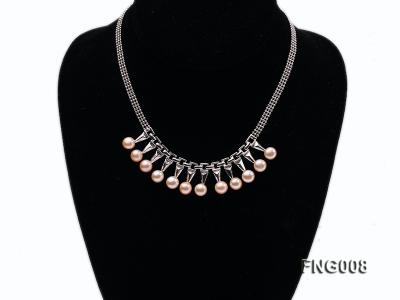 Gold-plated Metal Chain Necklace dotted with 8.5mm Pink Freshwater Pearls FNG008 Image 1