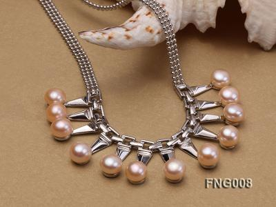 Gold-plated Metal Chain Necklace dotted with 8.5mm Pink Freshwater Pearls FNG008 Image 4