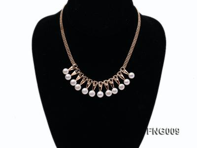 Gold-plated Metal Chain Necklace dotted with 8.5mm White Freshwater Pearls FNG009 Image 1