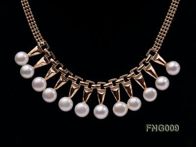 Gold-plated Metal Chain Necklace dotted with 8.5mm White Freshwater Pearls FNG009 Image 2