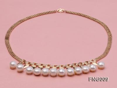 Gold-plated Metal Chain Necklace dotted with 8.5mm White Freshwater Pearls FNG009 Image 3