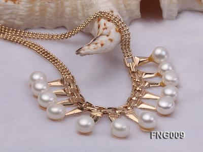 Gold-plated Metal Chain Necklace dotted with 8.5mm White Freshwater Pearls FNG009 Image 4