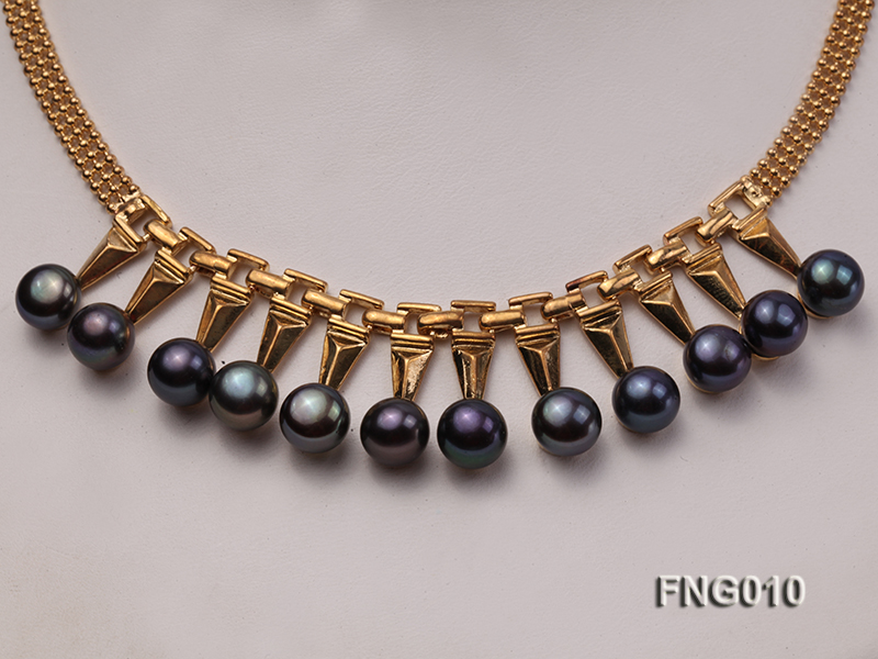 Gold-plated Metal Chain Necklace dotted with 8.5mm Black Freshwater Pearls big Image 2