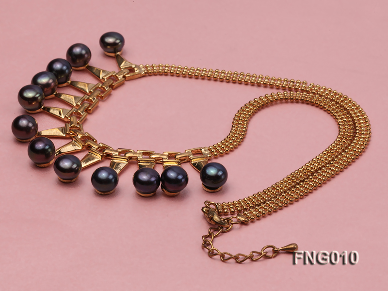 Gold-plated Metal Chain Necklace dotted with 8.5mm Black Freshwater Pearls big Image 3