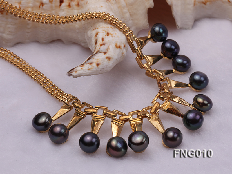 Gold-plated Metal Chain Necklace dotted with 8.5mm Black Freshwater Pearls big Image 4
