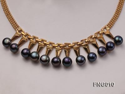 Gold-plated Metal Chain Necklace dotted with 8.5mm Black Freshwater Pearls FNG010 Image 2
