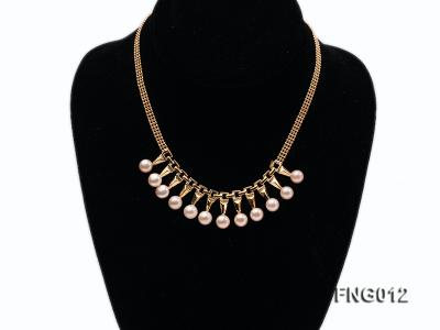 Gold-plated Metal Chain Necklace dotted with 8.5mm Pink Freshwater Pearls FNG012 Image 1