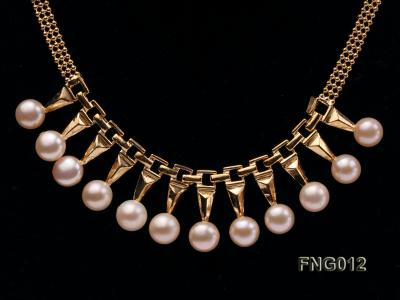 Gold-plated Metal Chain Necklace dotted with 8.5mm Pink Freshwater Pearls FNG012 Image 2