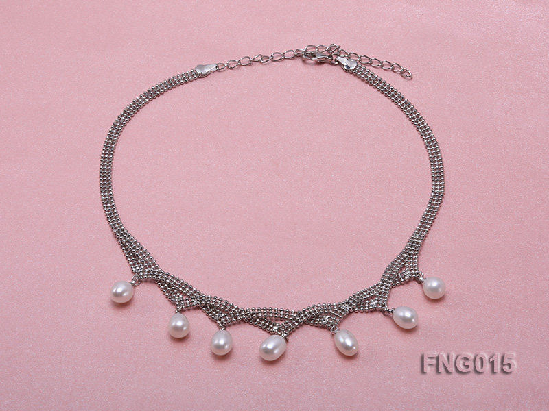 Gold-plated Metal Chain Necklace dotted with 7x8mm White Freshwater Pearls big Image 1