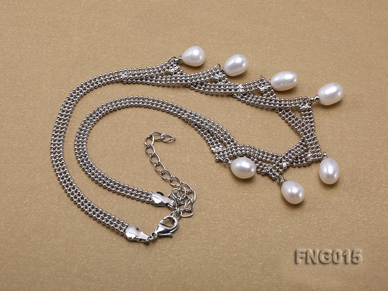 Gold-plated Metal Chain Necklace dotted with 7x8mm White Freshwater Pearls big Image 3