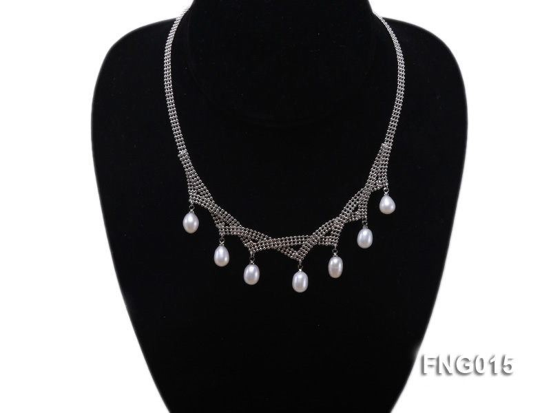 Gold-plated Metal Chain Necklace dotted with 7x8mm White Freshwater Pearls big Image 4