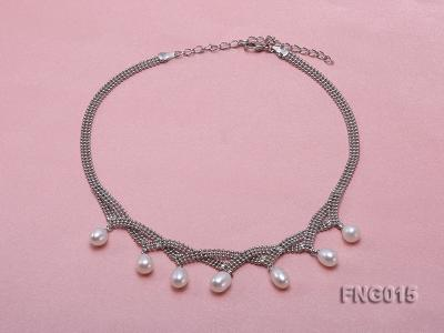 Gold-plated Metal Chain Necklace dotted with 7x8mm White Freshwater Pearls FNG015 Image 1