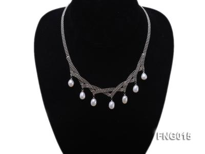 Gold-plated Metal Chain Necklace dotted with 7x8mm White Freshwater Pearls FNG015 Image 4