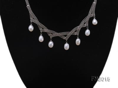 Gold-plated Metal Chain Necklace dotted with 7x8mm White Freshwater Pearls FNG015 Image 5