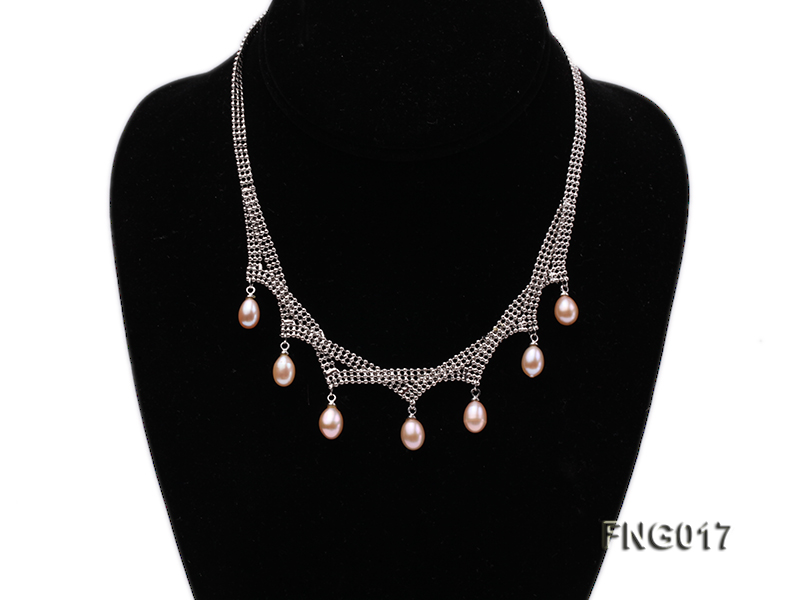Gold-plated Metal Chain Necklace dotted with 7x8mm Pink Freshwater Pearls big Image 1