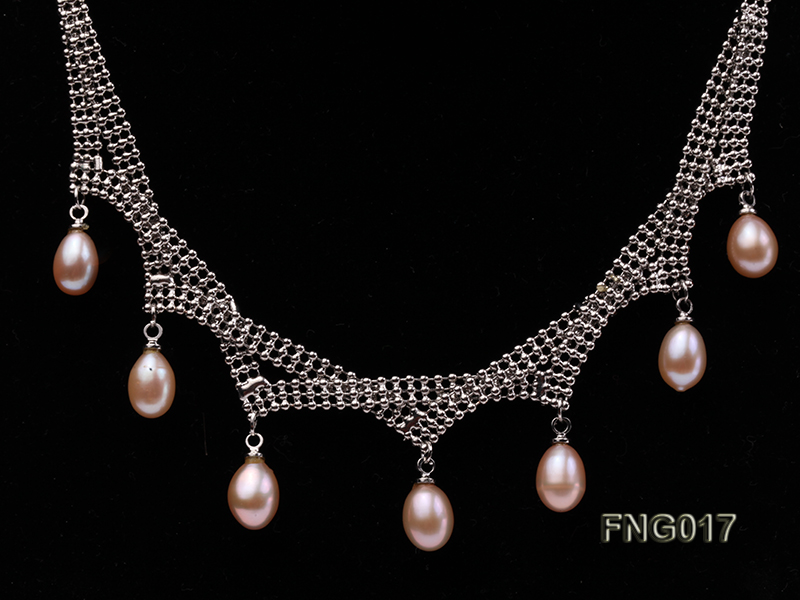 Gold-plated Metal Chain Necklace dotted with 7x8mm Pink Freshwater Pearls big Image 2