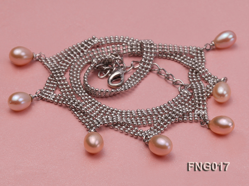 Gold-plated Metal Chain Necklace dotted with 7x8mm Pink Freshwater Pearls big Image 3