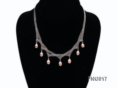 Gold-plated Metal Chain Necklace dotted with 7x8mm Pink Freshwater Pearls FNG017 Image 1