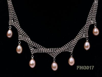 Gold-plated Metal Chain Necklace dotted with 7x8mm Pink Freshwater Pearls FNG017 Image 2