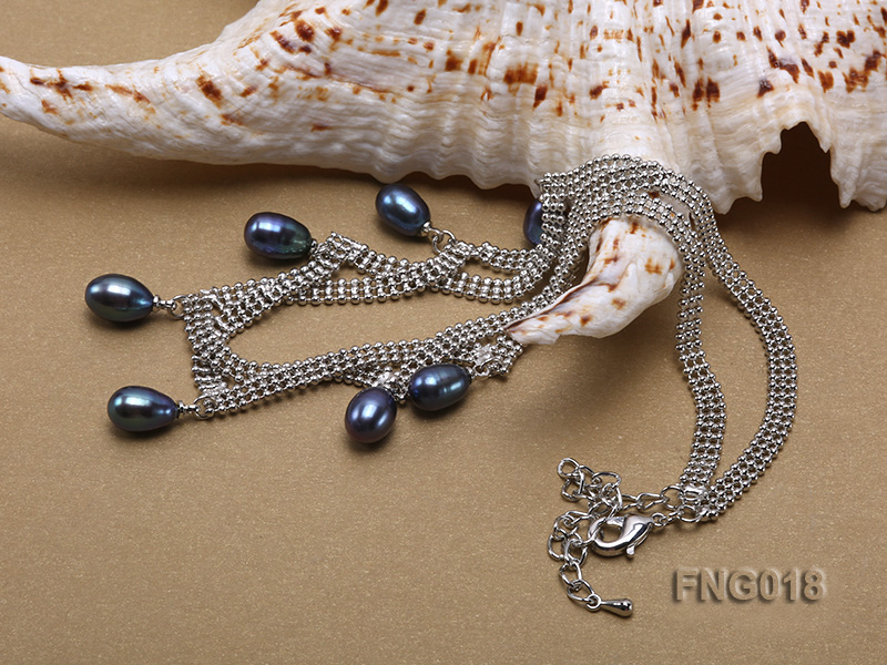Gold-plated Metal Chain Necklace and Bracelet Set dotted with Black Freshwater Pearls big Image 2