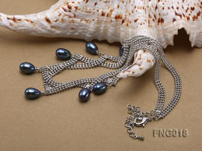 Gold-plated Metal Chain Necklace and Bracelet Set dotted with Black Freshwater Pearls FNG018 Image 2