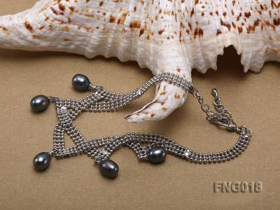 Gold-plated Metal Chain Necklace and Bracelet Set dotted with Black Freshwater Pearls FNG018 Image 3