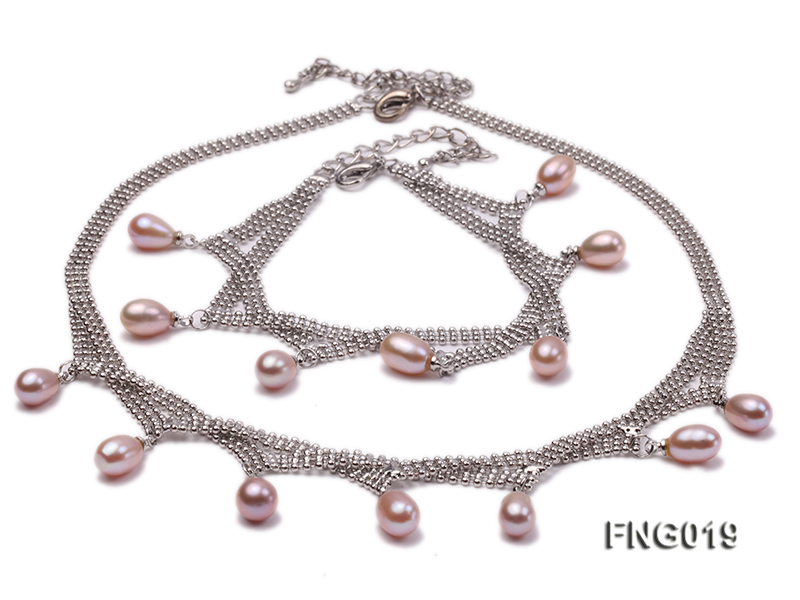 Gold-plated Metal Chain Necklace and Bracelet Set dotted with Lavender Freshwater Pearls big Image 1