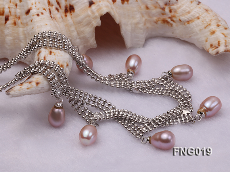 Gold-plated Metal Chain Necklace and Bracelet Set dotted with Lavender Freshwater Pearls big Image 5
